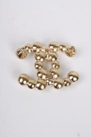 Chanel CC Logo Pearl Brooch - gold