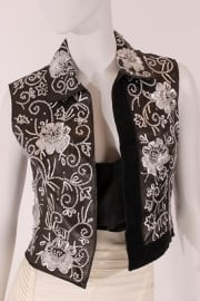 Dolce & Gabbana Sleeveless Vest - black leather/silver sequins
