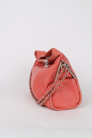 Chanel Pink Salmon Leather Small Silver Coloured Chain Hardware Shopper Tote Shoulder Hand Bag