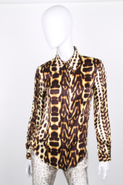 JustCavalli Silk Leopard Print Long Sleeve Button Up Blouse