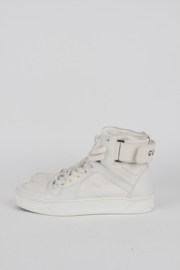 Gucci White Leather Logo White Sole High Top Sneakers Trainers