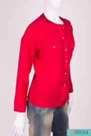 Chanel Silk Blouse - raspberry red