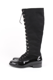 Chanel tall black patent leather toe lace-up knee-high boots