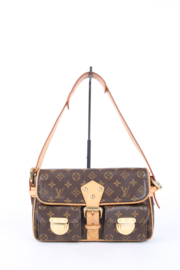 Louis Vuitton Hudson PM Brown Canvas Monogram LV Logo Gold Plated Hardware Shoulder Flap Bag