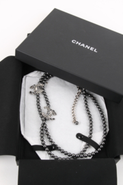 Chanel Black Pearl Necklace - silver