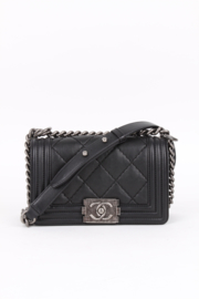 Chanel Quilted Lambskin Le Boy Bag Mini - black