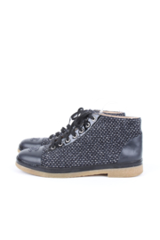 Chanel grey tweed and leather CC logo detail lace-up flat boots
