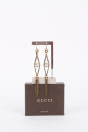 Gucci Bronze Coloured 'GG'-Logo Intarsia Tassle Drop Earrings