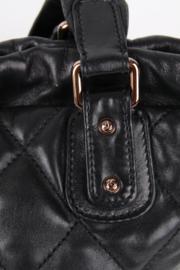 Chanel Black Leather Medium CC Logo Rose Gold Coloured Hardware Shoulder Drawstring Quilted Bucket Hand Bag