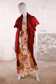 Christian Dior avondjurk - rood/ivoor zijde