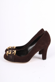 Gucci Suede Pumps - dark brown