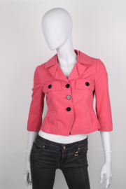 Gucci Pink Single-Breasted Ribbed Cotton Poplin Jacket