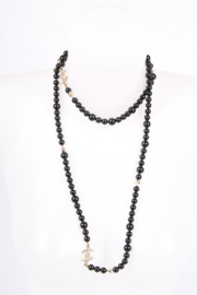 Chanel Beaded Necklace - black / silver