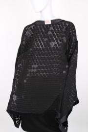 Sheila de Vries Couture Black Embellished Sequined Semi-Sheer Cape