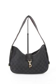 Gucci by Tom Ford Black Cotton Leather Monogram Shoulder Bag