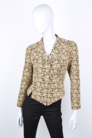 Christian Lacroix Black Yellow Jacquard Baroque Blazer Fitted Jacket