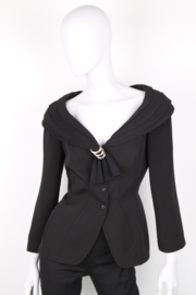 Thierry Mugler Black Wool Shawl Collar Synched Wasp Waist Long Sleeve Jacket