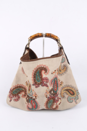 Gucci Embroidered Canvas Bag Bamboo Handle - beige/green/taupe/red