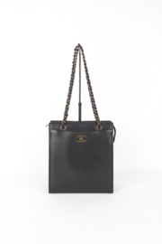 Chanel Black Calfskin Leather Small CC Logo Bronze Coloured Hardware Square Shopper Shoulder Hand Bag