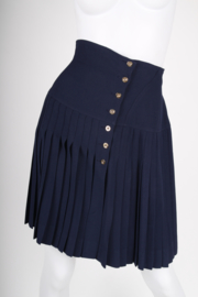 Chanel Button Skirt - dark blue/gold