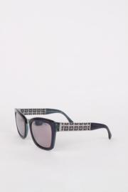 Chanel Purple Resin Silver Chain Metal Retro Oversized Sunglasses