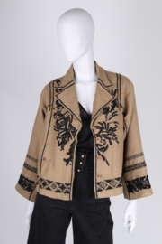 Dries van Noten Embroidered Jacket - taupe/black
