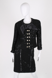Chanel 2-pcs Sequin Suit Jacket & Skirt - black