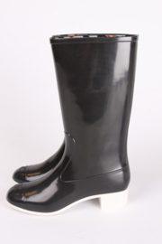 Chanel Baby Animal Rubber Rainboots - black & white