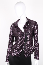 Sheila de Vries Couture Purple Embellished Sequined Semi-Sheer Vest