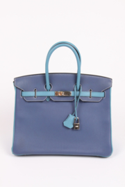 Hermes Birkin 35 Bicolor Blue Jean and Brighton Blue - very rare!