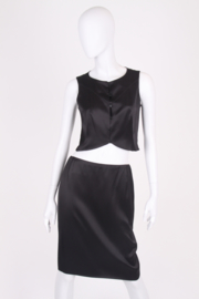 Chanel 2-pcs Silk Suit Top & Skirt - black