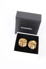 Chanel 1990's Large Gold Plated Quilted CC Logo Clip-On Earrings