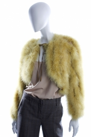 Jean Paul Gaultier Ostrich Feather Fur Coat - lime green