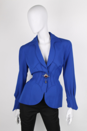 Thierry Mugler Cobalt Blue Structured Shawl Collar Synched Wasp Waist Long Sleeve Corset Starburst Brooch Jacket