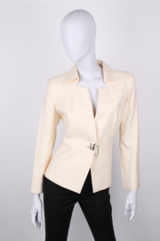 Thierry Mugler Couture Ivory Chain Closure Synched Blazer Jacket Skirt Suit