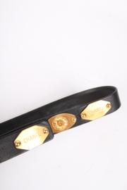 Chanel Leather Logo Plaque Belt - black