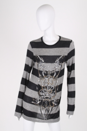 Balmain Beaded and Striped Long Sleeved Top Shirt - black/grey