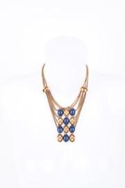 Gucci Bronze Coloured Blue Art Deco Multi Strand Necklace