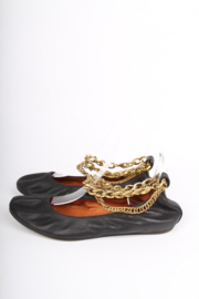 Lanvin Leather Flats - black/gold