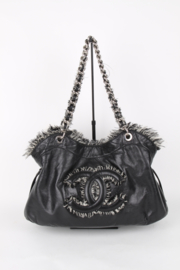 Chanel Bon Bon Funny Black Leather Medium CC Logo Silver Coloured Hardware Shopper Shoulder Hand Bag