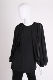 Gucci Silk Open Sleeve Blouse - black