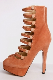 Charlotte Olympia Hermione Platform Boots - salmon pink suede