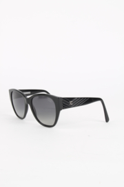 Chanel Black Resin Silver Coloured Metal Hardware Oversized Chevron Design Sunglasses