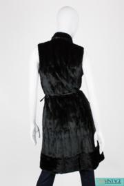 Gucci Sleeveless Fur Coat Mantle - very dark brown