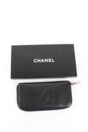 Chanel Caviar Leather CC Logo Embossed Silver Wallet