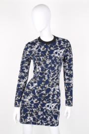 Balenciaga Spring/Summer 2015 Blue Marble Print Fitted Sheath Dress