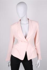 Thierry Mugler Pink Wool Longsleeve Skirt Suit