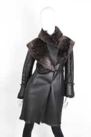 Ermanno Scervino Black Iridiscent Metallic Green Shearling Leather Long Sleeve Fur Coat