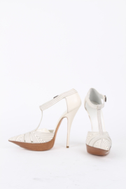 Balenciaga by Nicolas Ghesquière White Black Stitching Block Heels