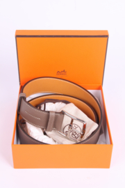 Hermes Etriviere 40 Unisex Taurillon Clemence Belt - taupe